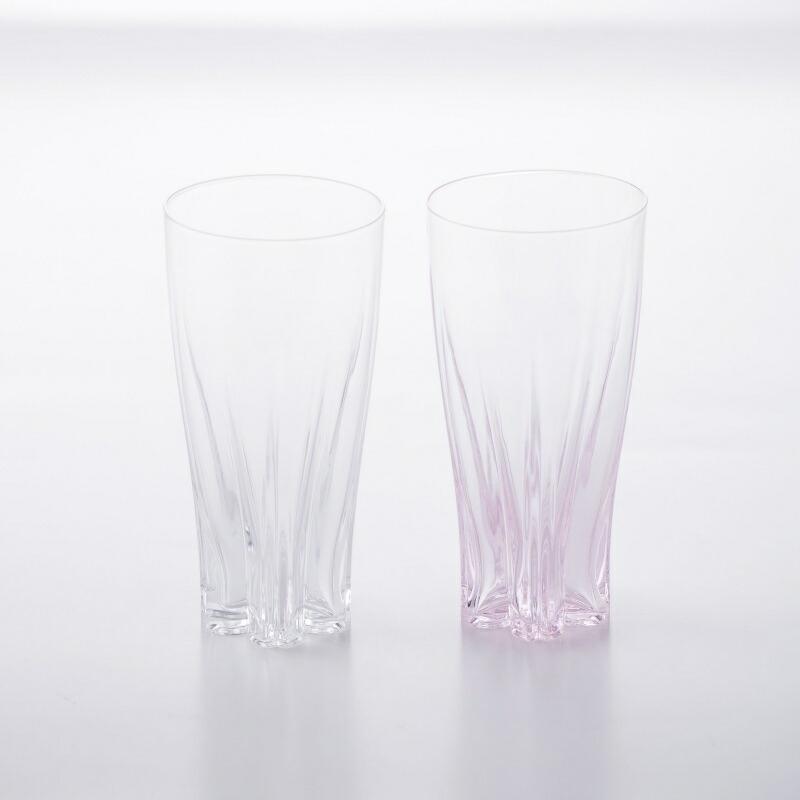 さくらさく ピルスナーグラス 紅白 ペア 100% SAKURASAKU GLASS PILSNER KOHAKU