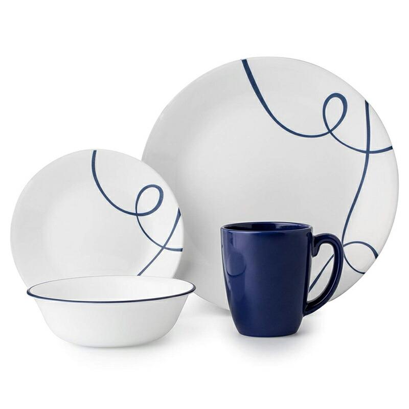 コレール 食器セット 4人用 16点 リアブルー 青 ライン リビングウェアー ディナーウェアー Corelle 16 Piece Lightweight and Chip Resistant Livingware Dinnerware Set, Lia Blue