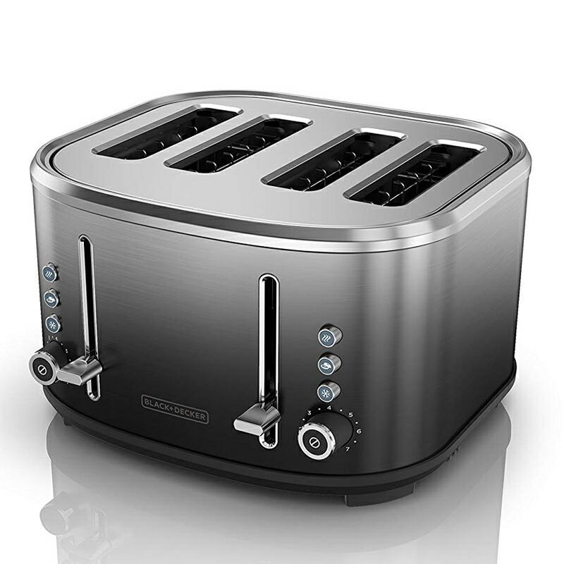 ポップアップトースター 4枚焼 ブラック・アンド・デッカー ステンレス BLACK+DECKER 4-Slice Extra-Wide Slot Toaster Ombre Finish TR4310FBD 家電