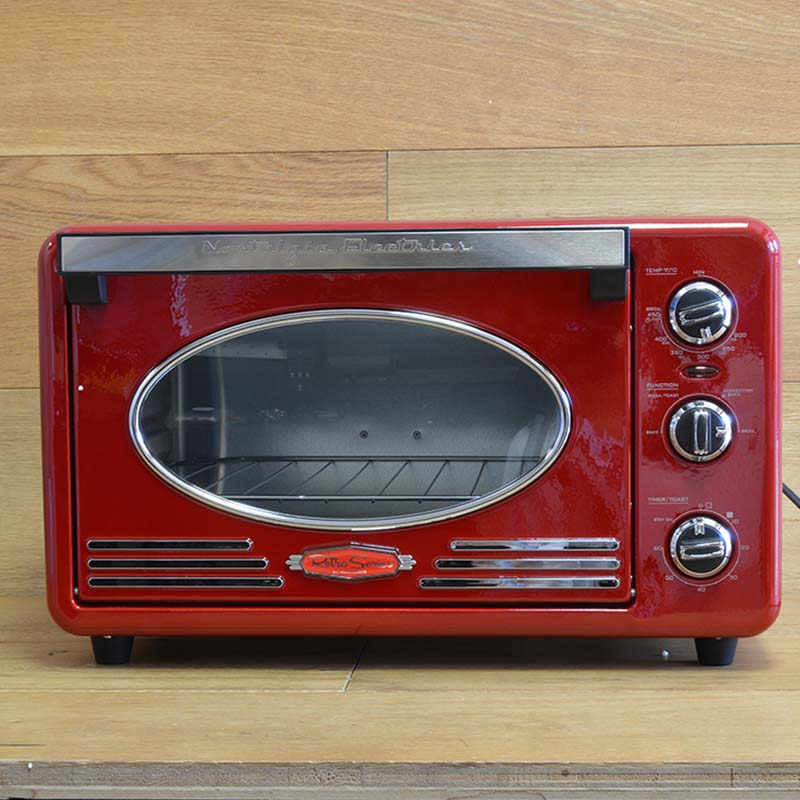 ノスタルジア コンベクショントースターオーブン レトロ Nostalgia RTOV220RETRORED Retro Series 6-Slice Convection Toaster Oven 家電
