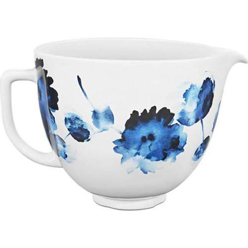 キッチンエイド 5クオート 4.8L チルトヘッドタイプ スタンドミキサー用 セラミックボウル 水彩 ウォーターカラー デザイン KSM150に適合 KitchenAid KSM2CB5PIW Accs Portable Appliance Ceramic Bowl, 5 quart, Ink Watercolor