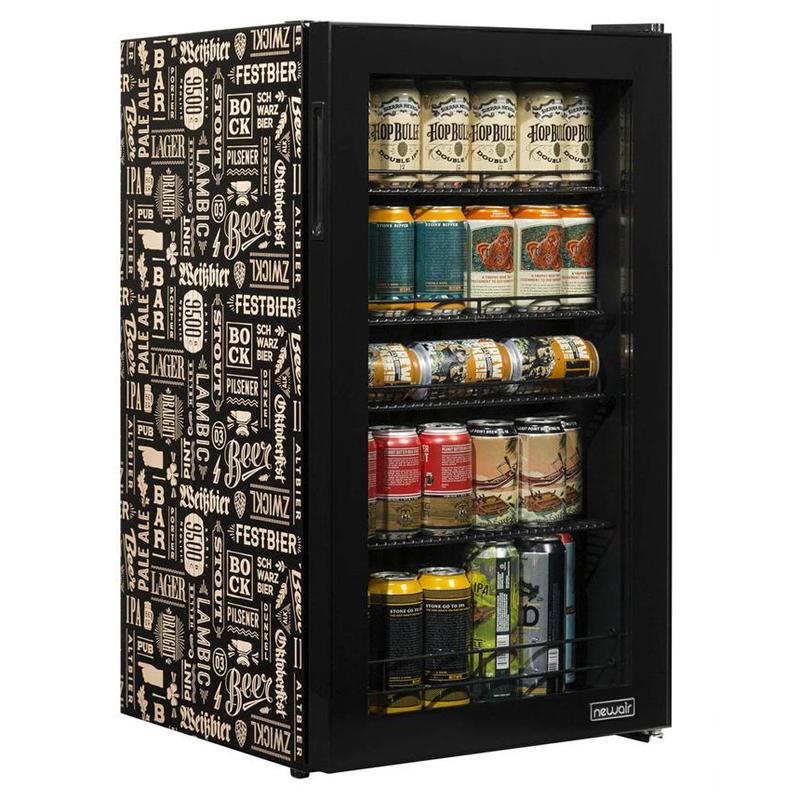 冷蔵庫 ミニバー ガラスドア おしゃれ かっこいい オフィス 事務所 ホテル 客室 ニューエアー ビバレッジクーラー 世界のビール デザイン 126缶 NewAir