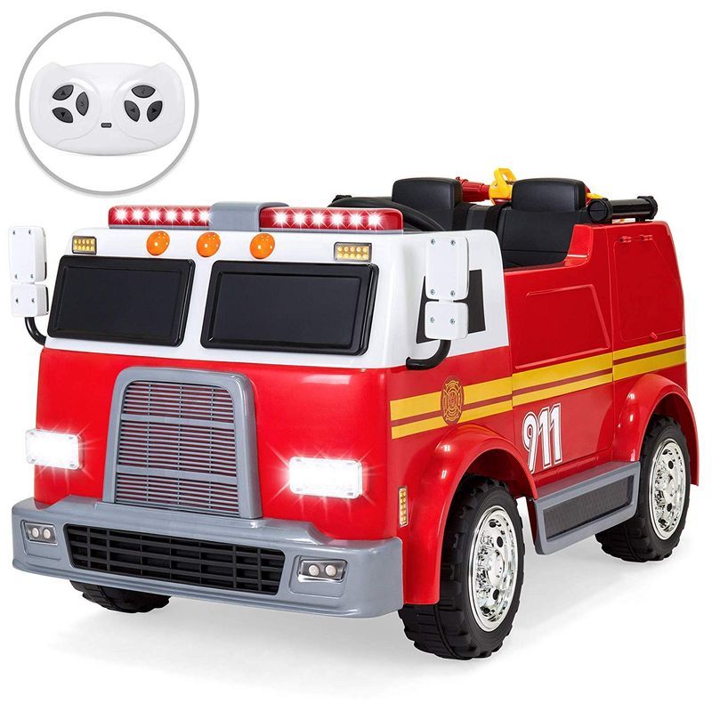 消防車 12Vバッテリー付 子供用電動自動車 3才~ 電気自動車 Best Choice Products 12V 2.4MPH 2-Speed Kids Fire Truck Ride On Toy w/ Remote Control, USB, Water Hose, Lights, Sounds【代引不可】【組立要】 家電
