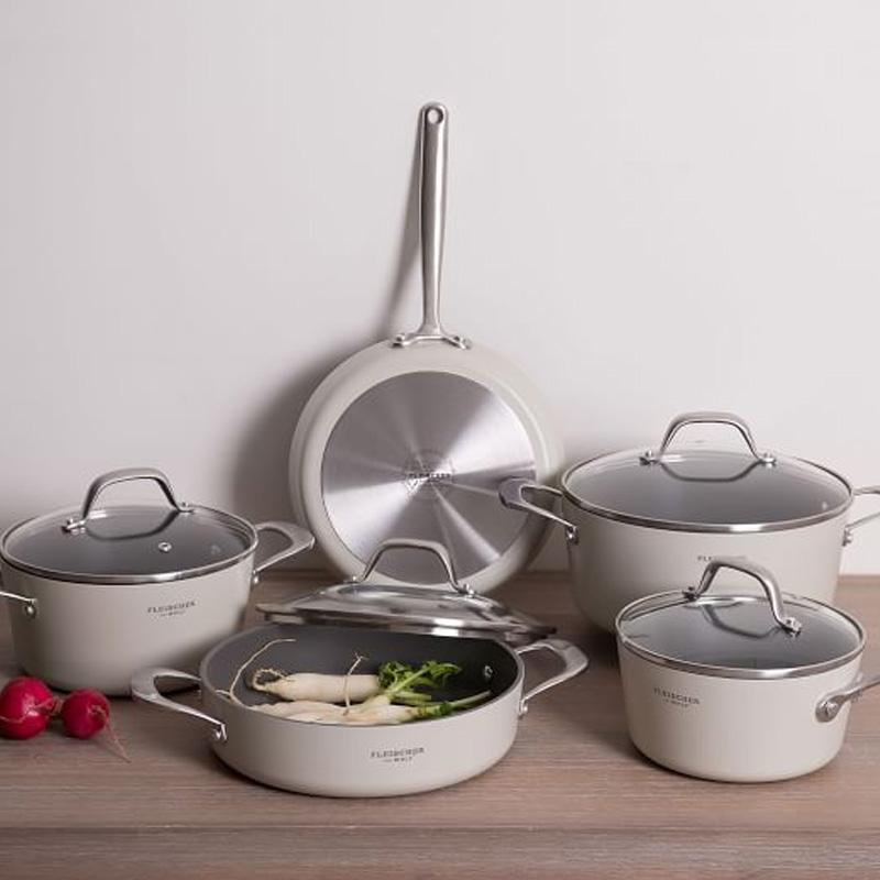 鍋 フライパン 9点セット IH対応 食洗機対応 ホワイト クリーム テフロン加工 フッ素樹脂 Fleischer And Wolf Monaco 9-Piece Cookware Set