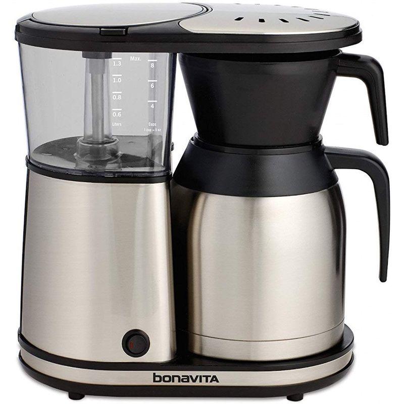 ボナビータ 8カップ ワンタッチ コーヒーメーカー ステンレスカラフェ シャワーヘッド BPAフリー Bonavita BV1900TS 8-Cup One-Touch Coffee Maker Featuring Thermal Carafe, Stainless Steel 家電