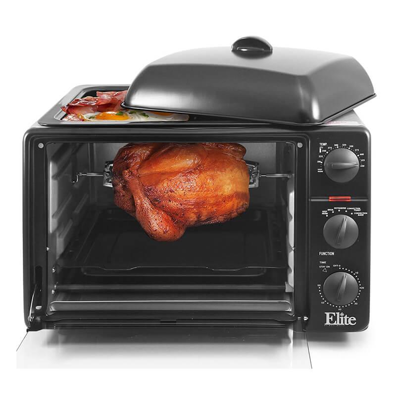 トースターオーブン ロティサリー グリル グリドル付 チキン丸焼き 鶏 Elite Cuisine ERO-2008SZ Convection Toaster Oven with Top Grill & Griddle Rotisserie, Bake, Grill, Broil, Roast, Toast, Keep Warm, 23L Black 家電
