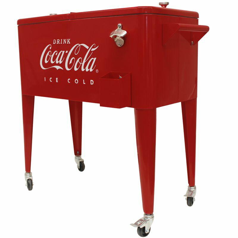 コカコーラ カート型 クーラーボックス 76L キャスター付 オープナー付 レトロ Leigh Country 80 Qt Coca-Cola Ice Cold (Embossed) Cooler CP 98121