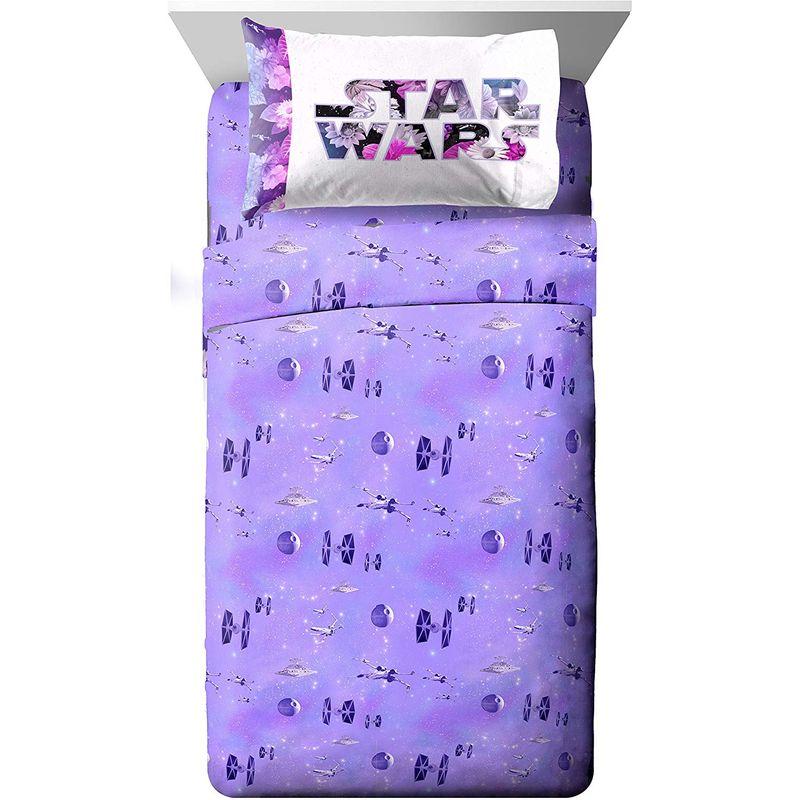 STAR WARS スターウォーズ ロゴ ボックスシーツ フラットシーツ 枕カバー セット クイーン リバーシブル マイクロファイバー ベッドカバー 宇宙 花 Star Wars Galaxy in Bloom Sheet Set, Queen