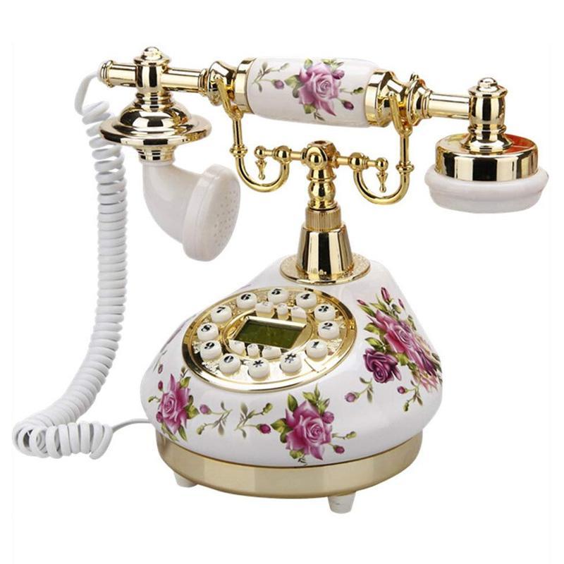 電話 プッシュ式 アンティーク ビンテージ ローズ バラ セラミック TelPal Retro Vintage Antique Telephone Old Fashioned with Push Button dial for Home Decor