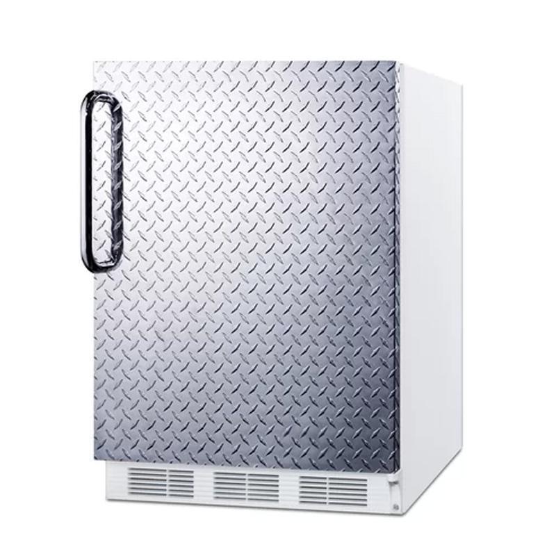 冷蔵庫 155L チェッカープレート インダストリアル 縞鋼板 ステンレス Summit 23.63-inch 5.5 cu.ft. Convertible Compact Refrigerator FF61BIDPL 家電