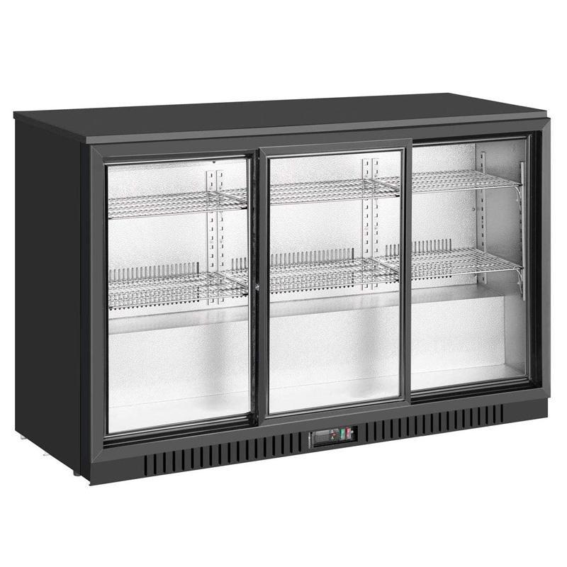 業務品質 冷蔵庫 ガラスドア 幅135cm 3枚 スライド アンダーカウンター ブラック 黒 バー カフェ キングスボトル KingsBottle KBU330SC 53