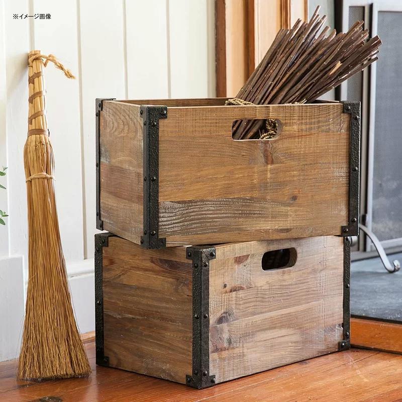 木箱 2個セット ウッド ケース クレート アンティーク ビンテージ Plow & Hearth Deep Creek Rustic Storage Solid Wood Crate PLHE2875