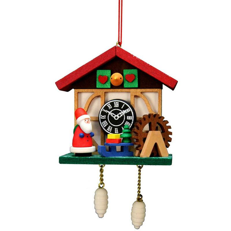 オーナメント ドイツ製 クリスマス サンタ 鳩時計 10-0566 - Christian Ulbricht Ornament - Cuckoo Clock Santa