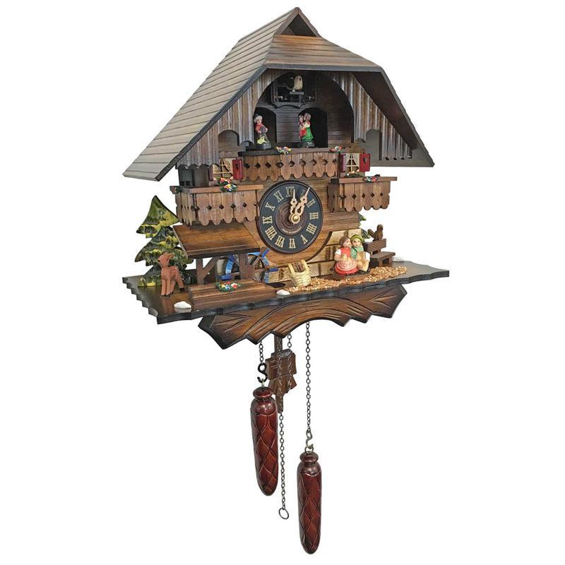 からくり時計 ドイツ製 鳩時計 カッコウ時計 コテージ 水車 12曲 4704QMT - Engstler Battery-operated Cuckoo Clock - Full Size
