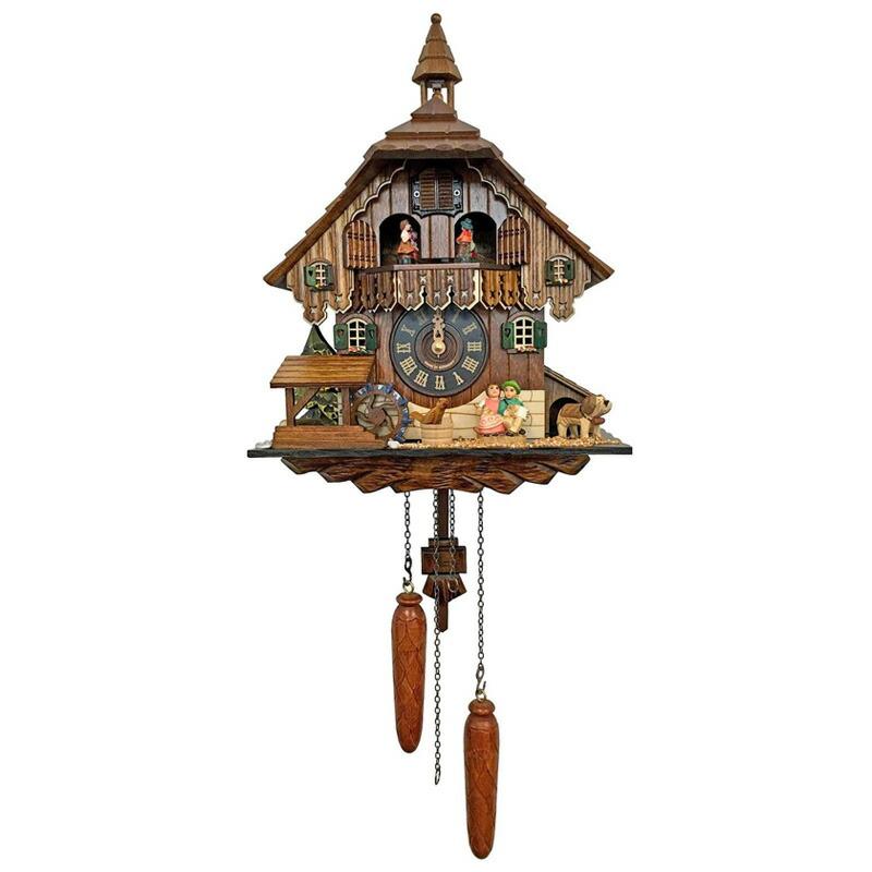 からくり時計 ドイツ製 鳩時計 カッコウ時計 コテージ 男の子 女の子 水車 12曲 4484QMT - Engstler Battery-operated Cuckoo Clock - Full Size
