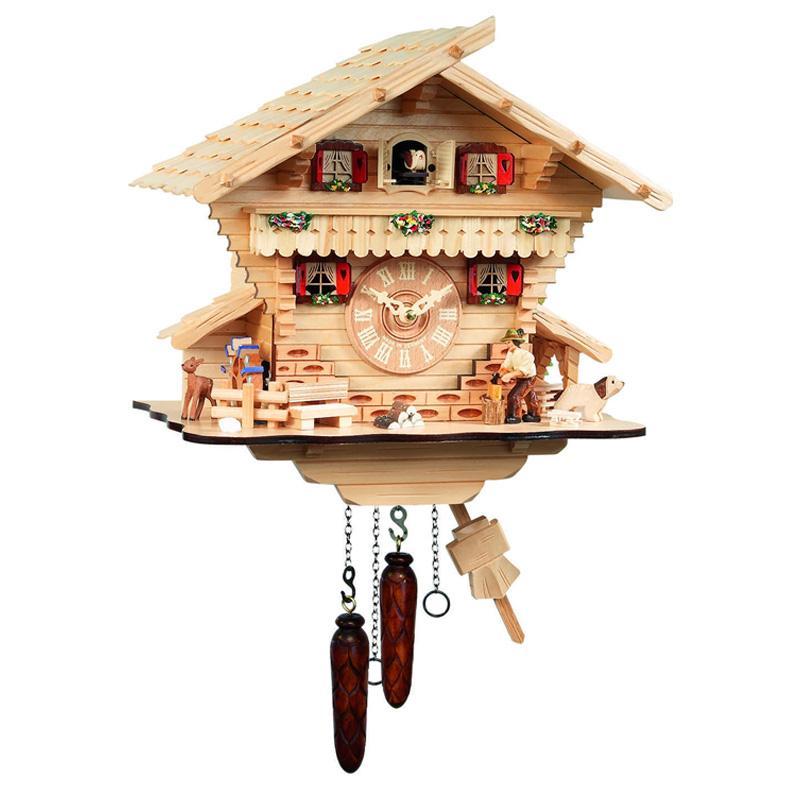 からくり時計 ドイツ製 鳩時計 カッコウ時計 コテージ 木こり 水車 12曲 482-7QM - Engstler Battery-operated Cuckoo Clock - Full Size