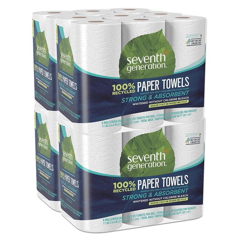 ペーパータオル 大きい ジャンボ 100%再生紙 6個入 4パック 塩素 染料 香料不使用 セブンスジェネレーション Seventh Generation Paper Towels, 100% Recycled Paper, 2-ply, 6-Count (Pack of 4)