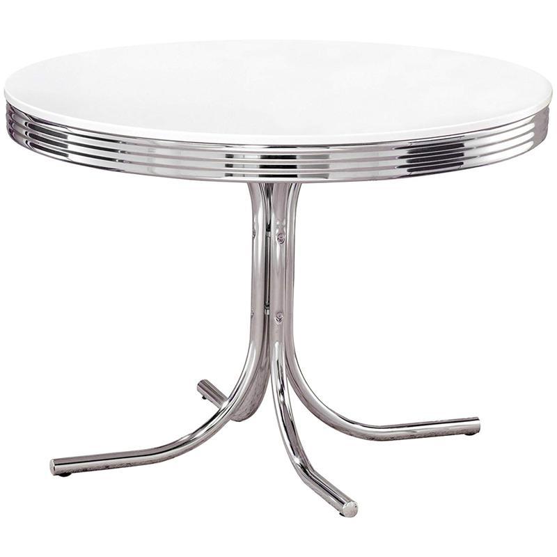 テーブル 丸型 パブテーブル クロム ホワイト レトロ アンティーク ビンテージ Retro Round Dining Table White and Chrome