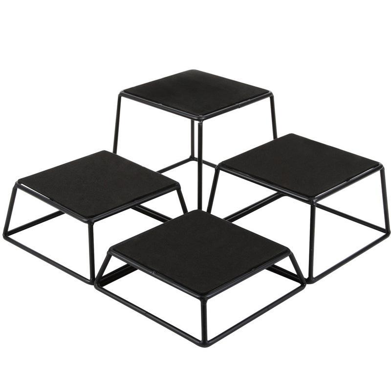 オンライン限定商品 送料無料 セットアップ ディスプレイスタンド ライザー 角形 4サイズセット メタル ブラック カフェ レストラン バイキング Tablecraft ビュッフェ 808BKR4 BKR4 Riser of Four Set Square