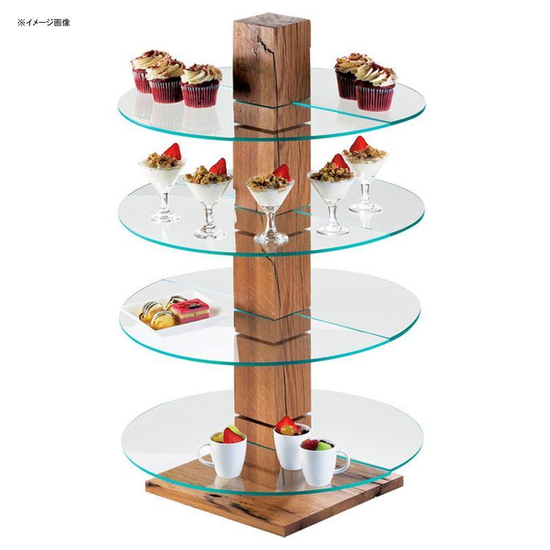 ディスプレイスタンド 木製 ウッド ガラストレイ付 カフェ レストラン バイキング ビュッフェ Cal-Mil 791-99 Rustic Pine Single Pillar Stand 21179199