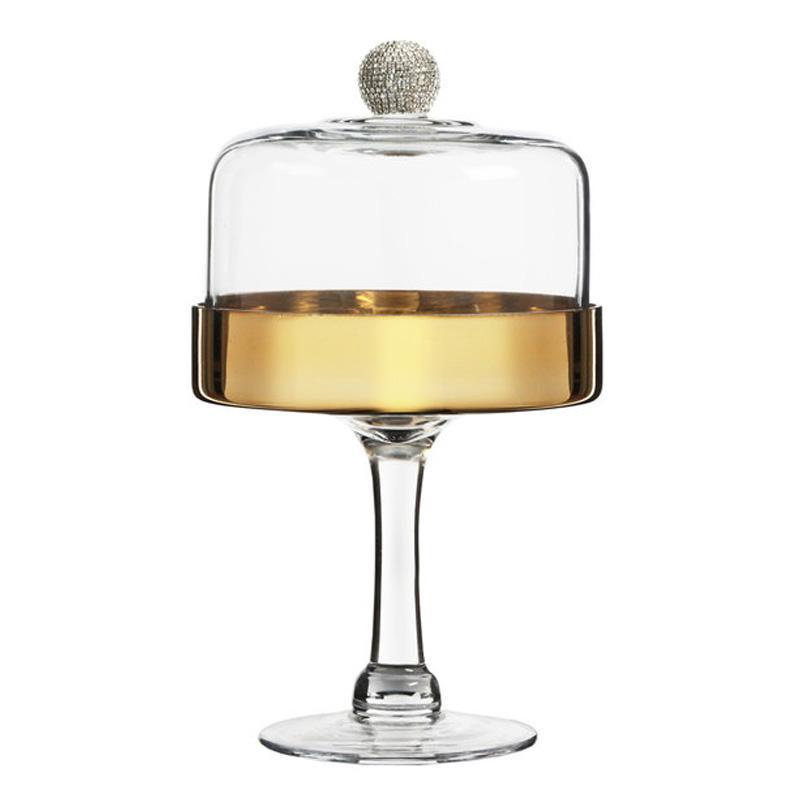 年間定番 送料無料 ケーキスタンド ガラス 直径16.5cm 高い素材 ドームカバー付 ゴールド カフェ レストラン バイキング ビュッフェ The Jay Companies Fitz Floyd Medley 49421272311P and 1 6 Gold with Glass Beaded Dome 2
