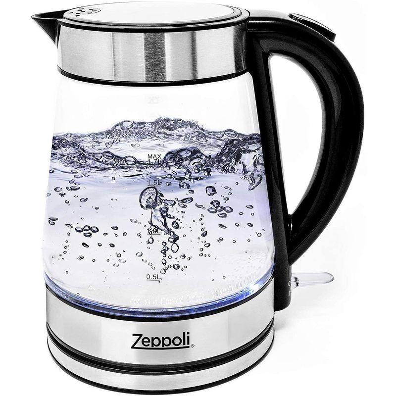 30日間返金保証 送料無料 コードレス 電気ガラスケトル 1.7L Zeppoli Electric Kettle - 年間定番 Glass Tea Cordless Boiling Fast Water 家電 and Steel 大特価 Finish Hot Stainless