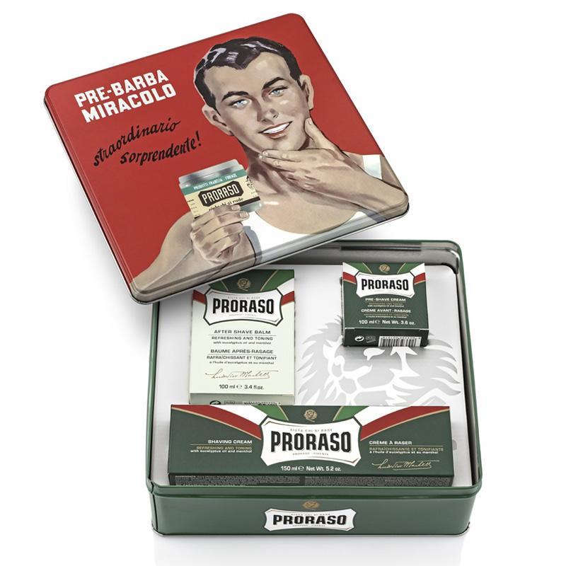送料無料 Proraso ギフトセット ジーノ リフレッシュ プレシェーブクリーム シェービングクリーム 新作製品 いよいよ人気ブランド 世界最高品質人気 Gift イタリア Set Gino Tin アフターシェーブバーム Vintage