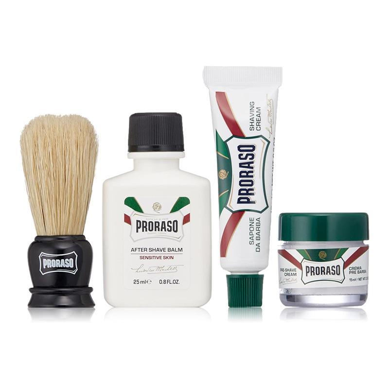 送料無料 Proraso トラベルシェーブキット プレシェーブクリーム シェーブクリーム アフターシェーブバーム Kit Travel イタリア 受注生産品 シェービングブラシ 激安 お買い得 キ゛フト Shave