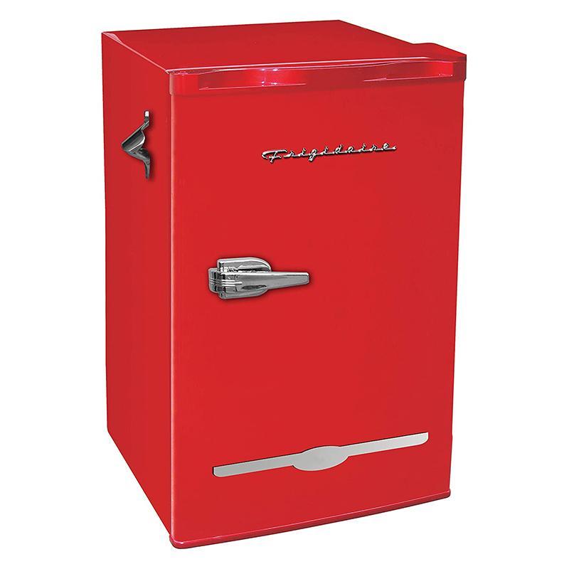 送料無料 冷蔵庫 90L 栓抜き付 レトロ フリッジデール Frigidaire Retro Bar ご注文で当日配送 Fridge with ft 家電 Side ハイクオリティ Bottle cu. Opener Refrigerator 3.2 Red