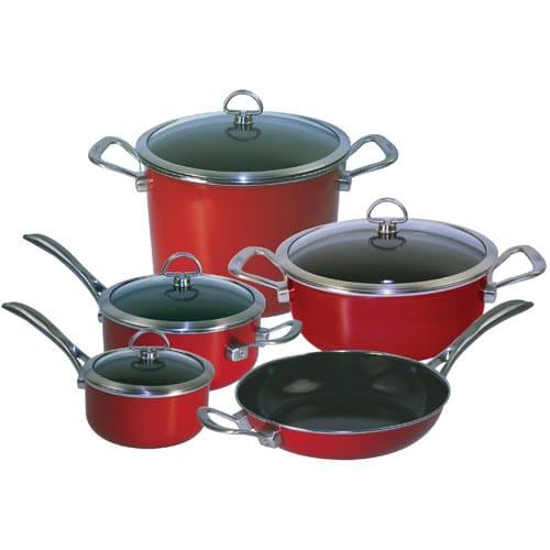 送料込 シャンタール コッパー フュージョン 9点セット チリレッド Chantal Copper Fusion Cookware Set Chili Red(9pc)