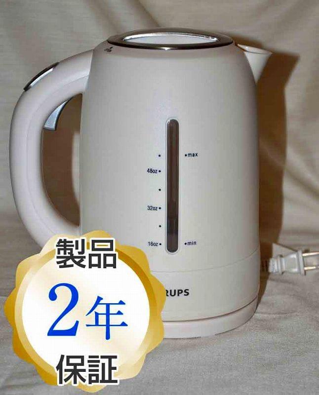 クラップス FLF2-J1 コードレス 電気ケトル ホワイトKrups FLF2J1 Cordless Electric Kettle, White and Stainless Steel