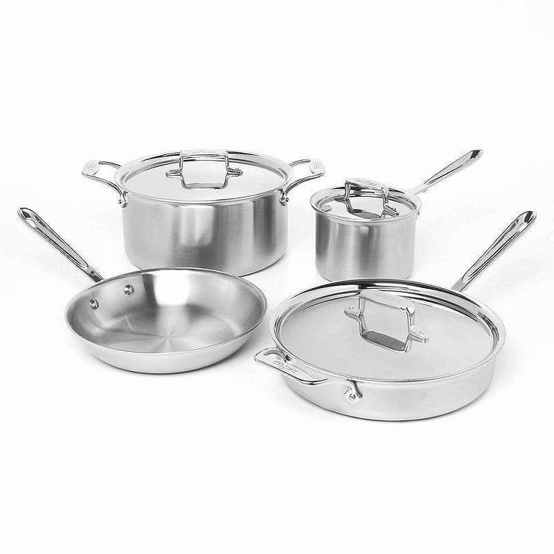 オールクラッド MC2 Steel ステンレス フライパン 鍋 Bonded 7点セットAll-Clad 700393 MC2 PFOA Professional Master Chef 2 Stainless Steel Bi-Ply Bonded Oven Safe PFOA Free Cookware Set, 7-Piece, Silver, 時計のジュエリータイム ムラタ:bab04f61 --- krianta.ru