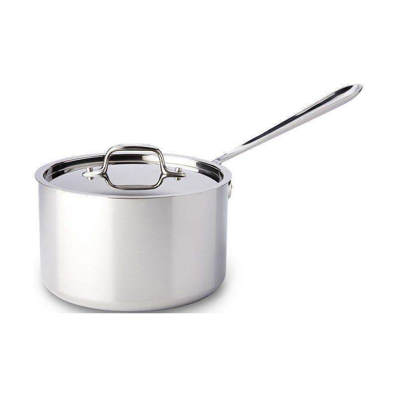 オールクラッド ステンレス鍋 4L 蓋付深底鍋All-Clad Stainless Steel 4-Quart Sauce Pan with Lid 4204