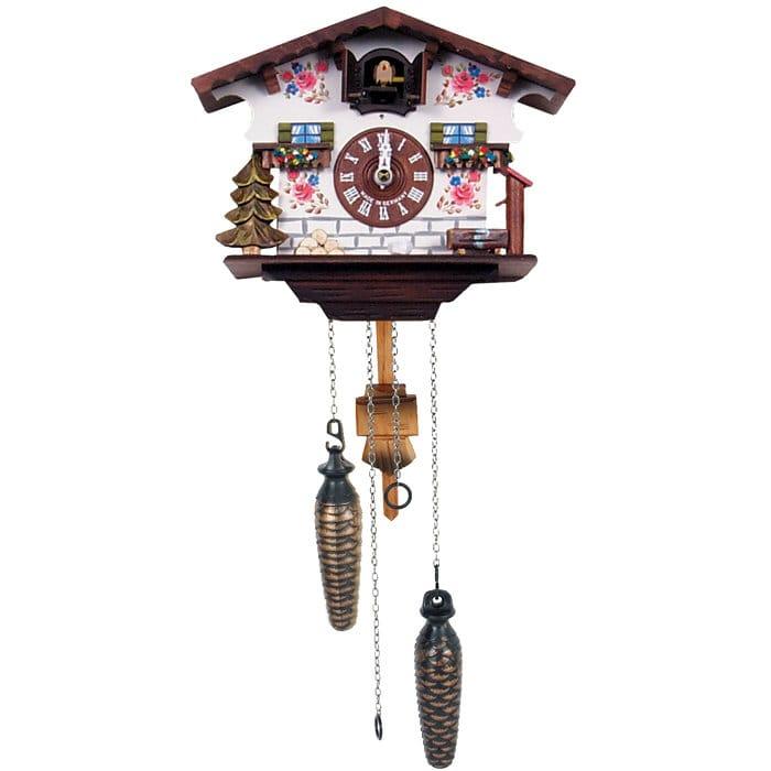 ブラック フォレスト ジャーマン クークー クロック ホワイトフラワー Black Forest German Cuckoo Clock with White Flowers