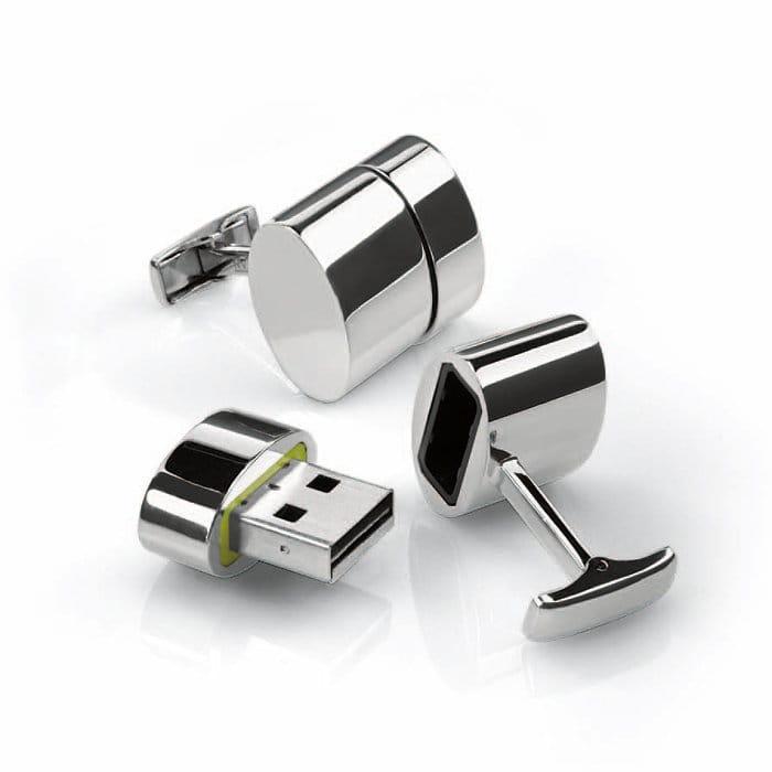 チープ 30日間返金保証 送料無料 カフスリング フラッシュメモリ Polished Cufflinks 2GB WiFi USB 直営限定アウトレット Oval