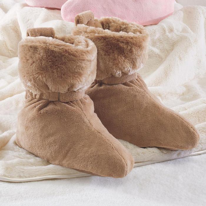 供小睡力士脚舒服热的室内房间使用的长筒靴nap Luxe Foot Comforters Cocoa