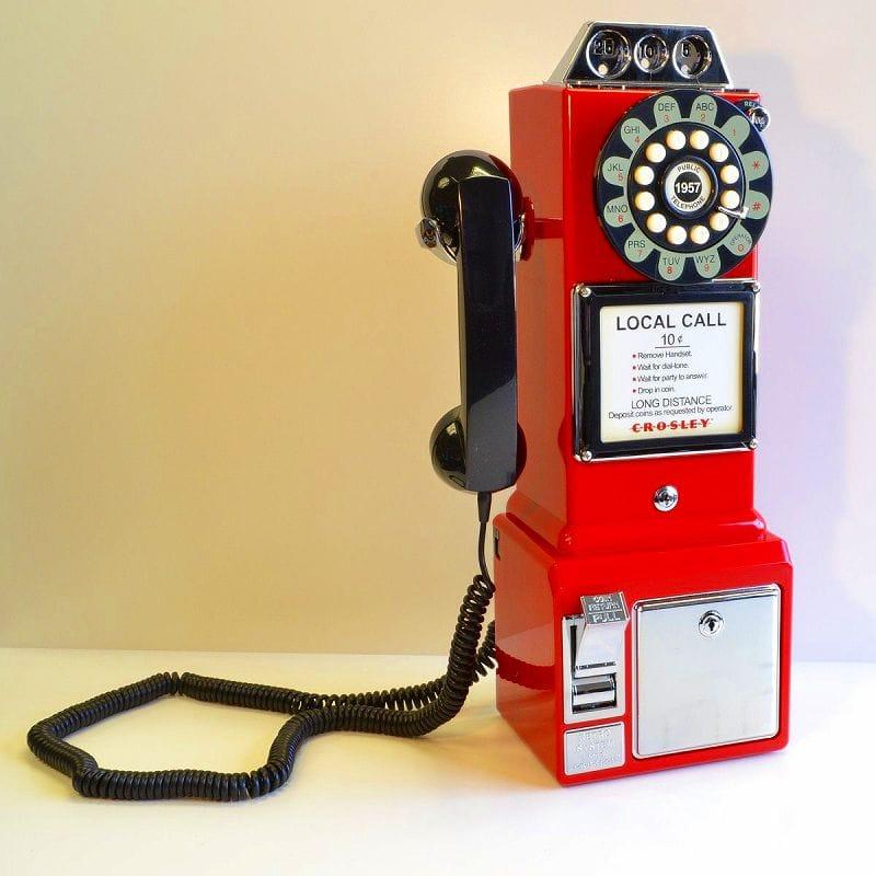 アメリカ クロスリー1950年代 レトロ壁掛け電話 公衆電話 Crosley CR56 1950s Wall Pay Phone