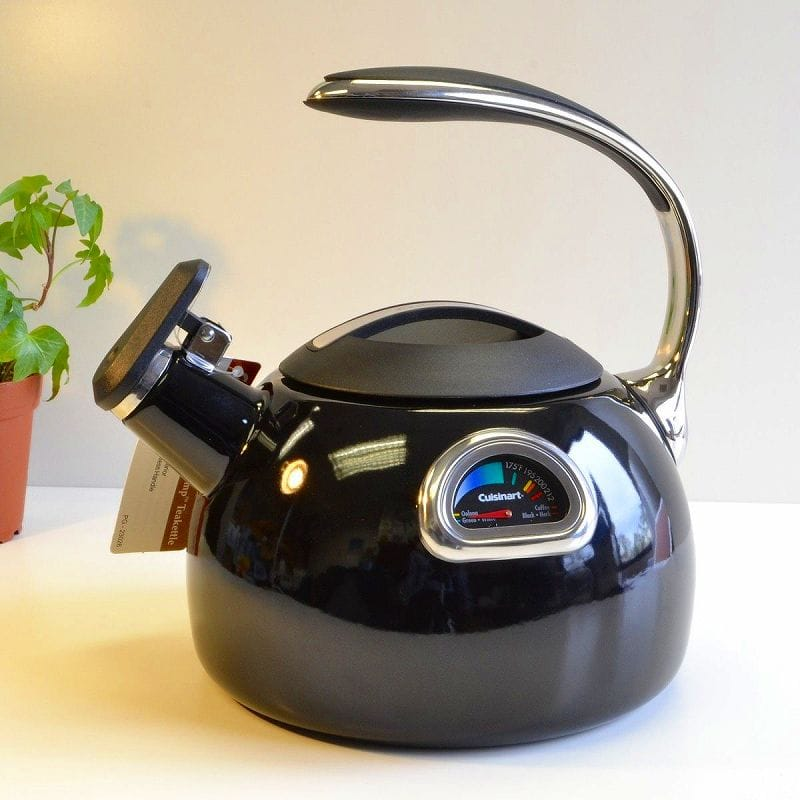 クイジナート ホーロー 温度計付笛吹きケトル ブラックCuisinart PerfecTemp Porcelain Enameled Teakettles PTK-330BK Black