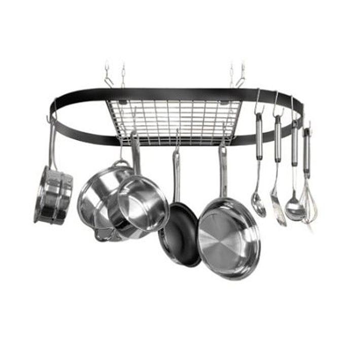 ポットラック 鍋置き 鍋掛け 鍋吊るし 掛け収納 ハンギングフック Innova Classicor Wrought-Iron Oval Pot Rack 12021