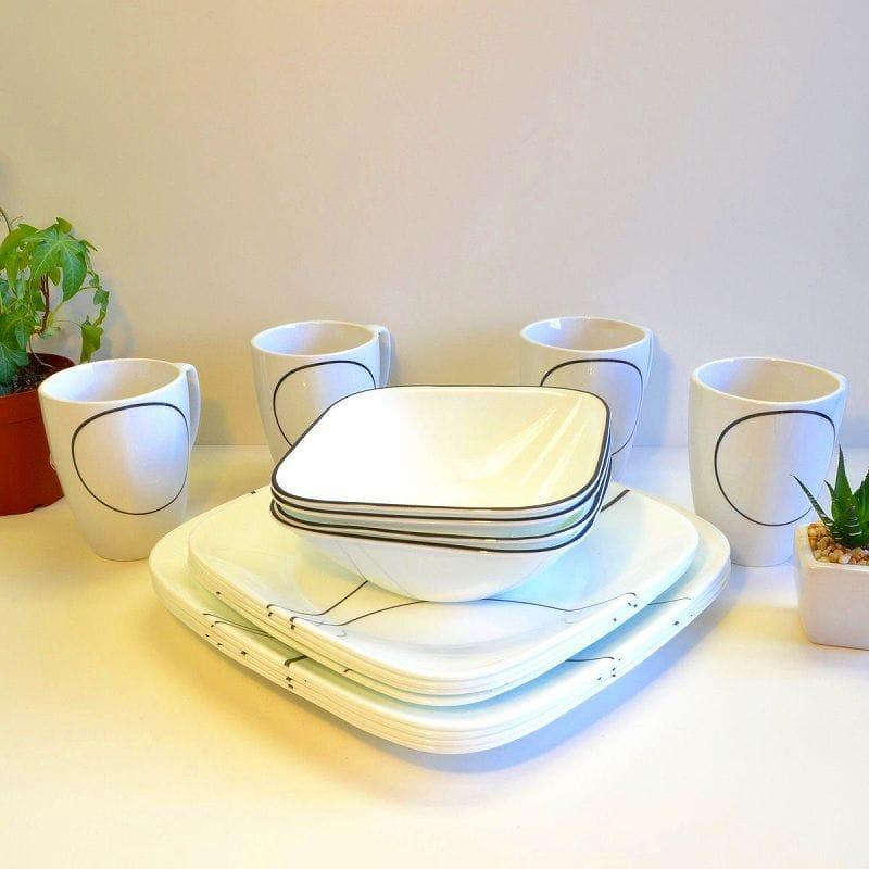 コレール シンプルライン ディナーウェアー 食器セット 16点セット Corelle Simple Lines Square 16-Piece Dinnerware Set, Service for 4