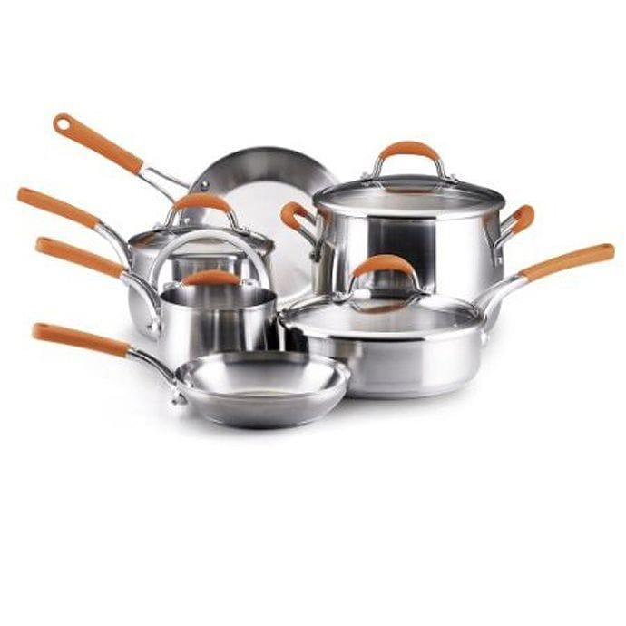 レイチェルレイ ステンレススチール 10ピース調理器具セット(鍋 フライパン) オレンジ Rachael Ray Stainless Steel 10-Piece Cookware Set Orange