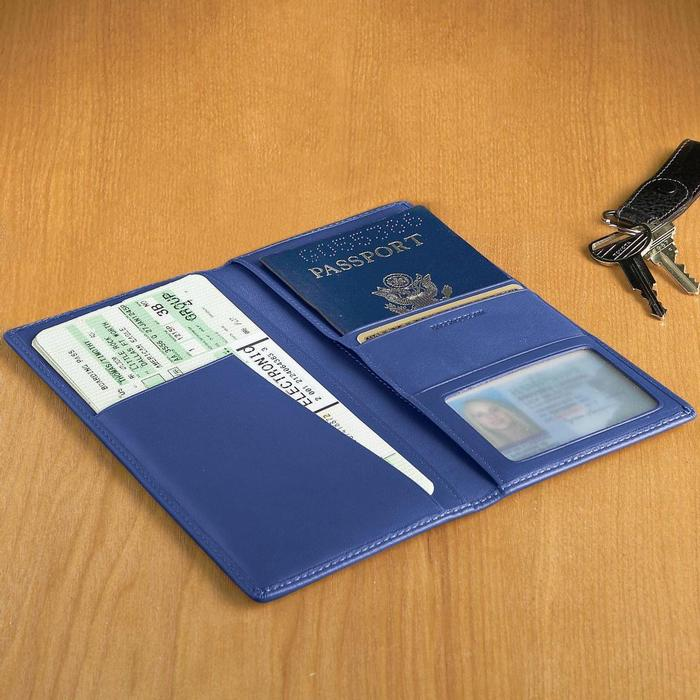 革製 パスポートケース 航空券 ID 現金 ブルー Leather Royce Ticket and Passport Holders Ocean Blue