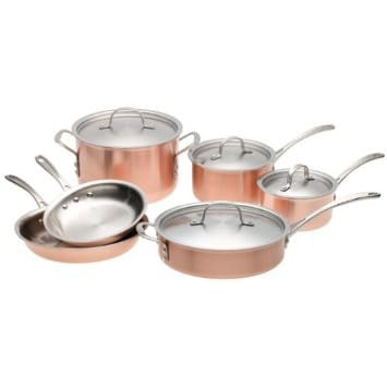 カルファロン 銅 コッパー プレミアムクックウェア 10点セットCalphalon Tri-Ply Copper 10-Piece Cookware Set T10