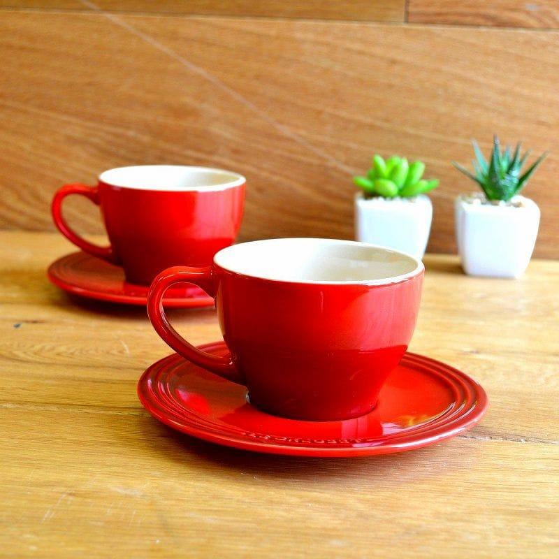 ル・クルーゼ カプチーノ カップ&ソーサー 2客セット チェリーレッド 200ml Le Creuset Set of 2 Cappuccino Cups and Saucers Cherry Red ルクルゼ ルクルーゼ コップ カップ