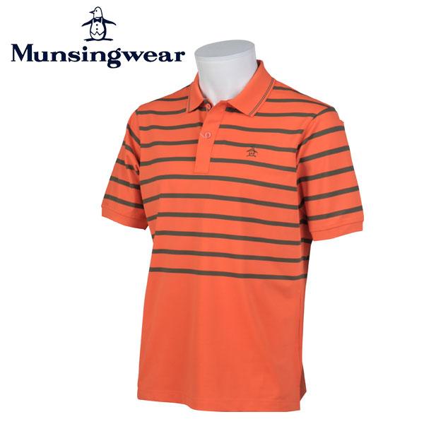マンシングウェア MUNSINGWEAR ゴルフ メンズ 半袖 ボーダー ボタン シャツ シャツ GWMJ204 A547 オレンジ 17sscz