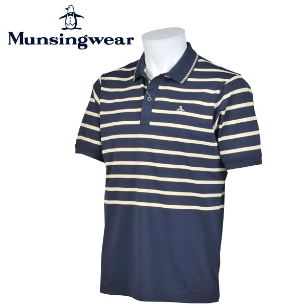 マンシングウェア MUNSINGWEAR ゴルフ メンズ 半袖 ボーダー ボタン シャツ シャツ GWMJ204 M145 ネイビー 17sscz