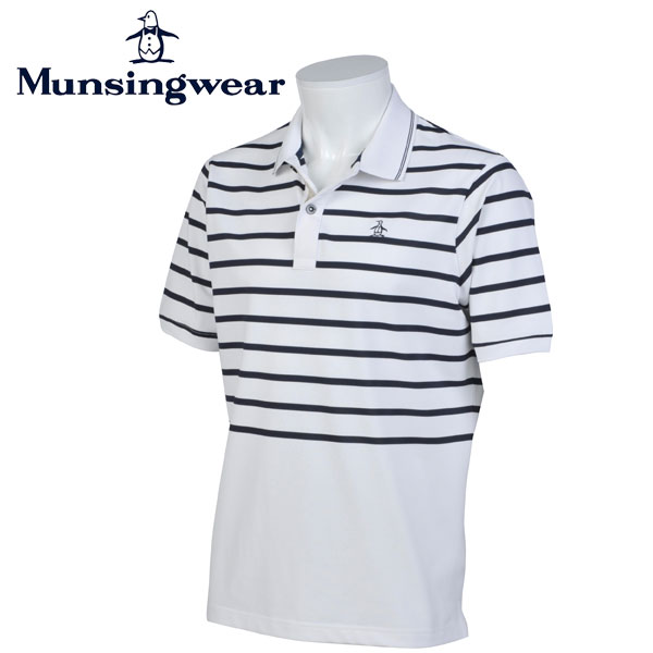 マンシングウェア MUNSINGWEAR ゴルフ メンズ 半袖 ボーダー ボタン シャツ シャツ GWMJ204 N950 ネイビーホワイト 17sscz