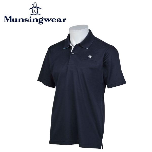 マンシングウェア MUNSINGWEAR ゴルフ メンズ 半袖 ボタン シャツ シャツ JWMJ230 M145 ネイビー 17sscz