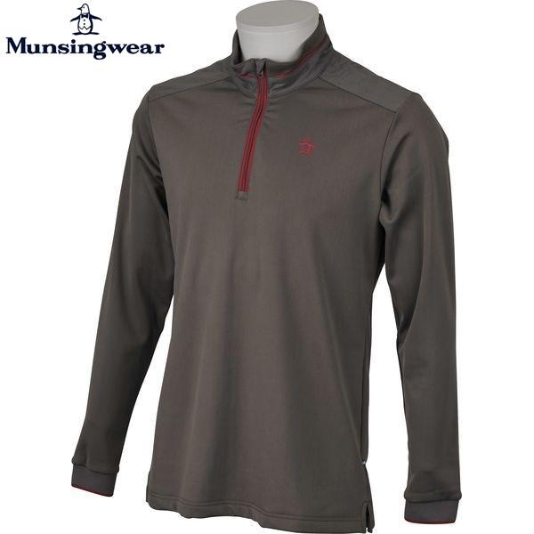 マンシングウェア MUNSINGWEAR ゴルフ メンズ 長袖スタンドカラーハーフジップアップシャツ JWMK129 N391 グレー 17fwcz