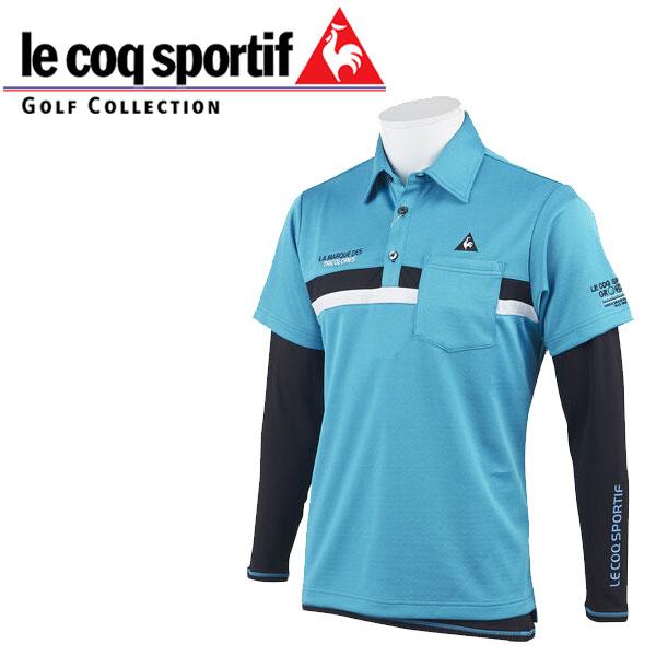 ルコック ゴルフウェア メンズ 長袖インナー付 半袖シャツ QGMOJA03W BL00 ブルー /  19fwpz